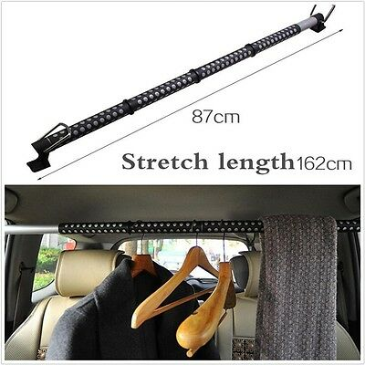 1 Pcs Expandable In-Car Clothes Hanger Rod Bar Classic Black Garment Rack Holder
