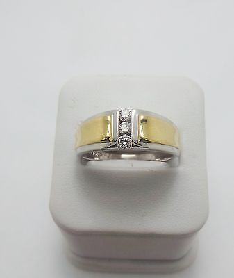 10ct YELLOW & WHITE GOLD DIAMOND  BAND RING VALUED @ $1245 COMES WITH VALUATIOIN