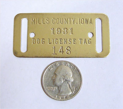 Dog Tax Tag Collection-Mills County Iowa 1931 - NR