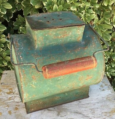 Rare Antique Vintage French Galvanized Zinc Fishing Creel Bait Bucket ~ Green