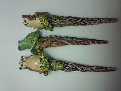 Owls and Frog Plant Watering Spikes Ceramic Sculpture Figurine Hand Painted
