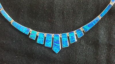 Mexico 950 Sterling Silver Blue Opal Necklace and Earring Set
