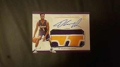 D'Angelo Russell 2015-16 Panini National Treasures 3 Color Patch Rc Auto 25/99