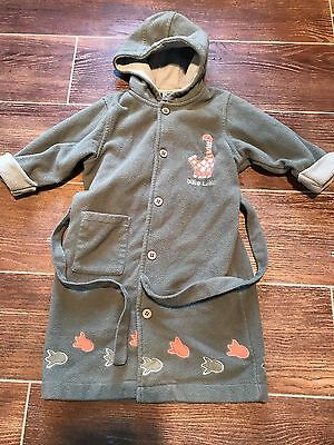 PUMPKIN PATCH Boys Size 4 Hooded Dressing Gown DINOSAUR theme