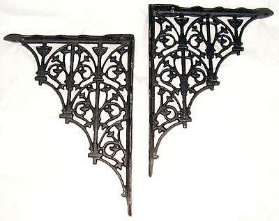 Gothic Victorian style Cast Iron Shelf Brackets 9 & 3/4 by 7 & 1/2 inch