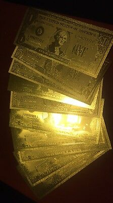 10pc Beautiful .999 24kt Gold US $1 & $2 Banknotes w/ Sleeve 14.5 x 6.5cm