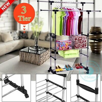 3Tires Adjustable Double Clothes Rail Hanging Garment Dress With Shoe Rack Stand