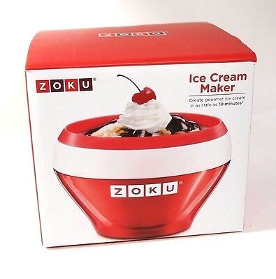 Zoku Ice Cream Maker Red - Fast Individual Sized Manual - Gelato Sorbet Sherbert