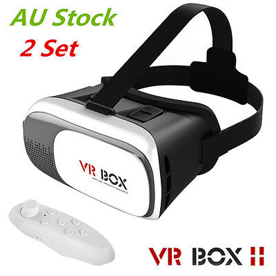 Universal 3D Virtual Reality VR BOX V2.0 Glasses Headset + Bluetooth Remote AU