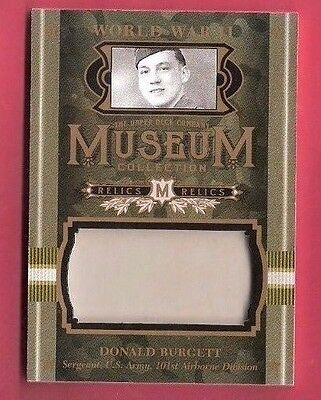 WWII WORLD WAR II DONALD BURGETT RELIC CARD GOODWIN CHAMPIONS MUSEUM 101st AIR