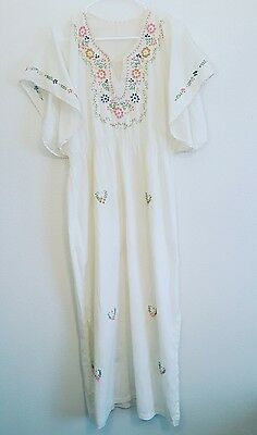 vtg 60s 70s boho ethnic bell sleeve mexican maxi embroidered wedding dress thin