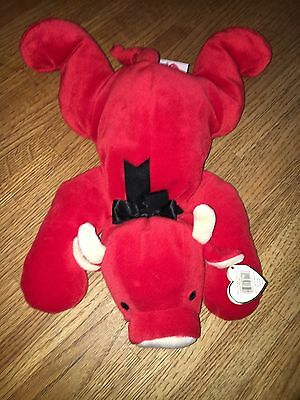 """TY """"Red"""" The Bull Pillow Pals Collectible Retired with """"Snort"""" Beanie Baby"""