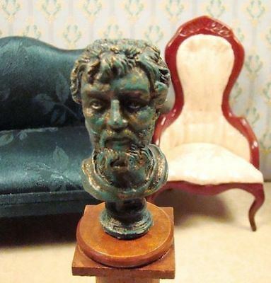 "Dollhouse Miniature 1:12 Scale LG Green ""Septimus Severus"" Bust Statue"