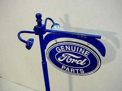 "Crafted 1-18 Scale Lit Up Ford Dealer Pole Sign 14"" Tall Garage Diorama Display"