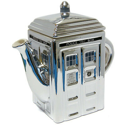 Collectible  Doctor Who Siver Ceramic Tardis Teapot Now Very Hard To Source Bnib