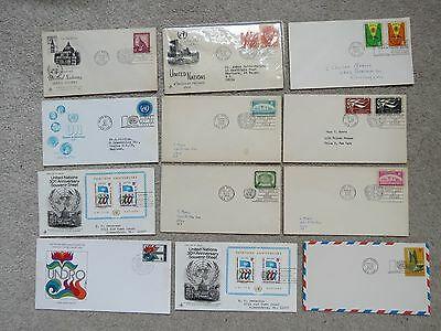 Super lot of 12x Vintage 1950s-70s United Nations New York First Day Covers