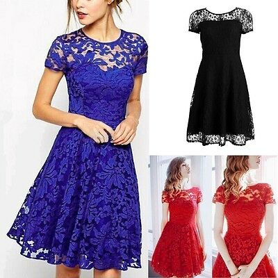 Summer Women Mini Dress Floral Lace Short Sleeve Cocktail Evening Party Casual