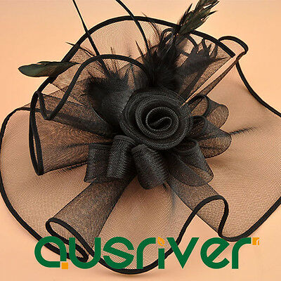 Fashion Race Day Hat Womens Black Hat Wide Brim Hatinator Hats With Flowers Clip