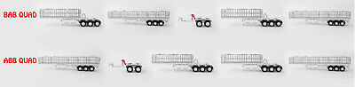 New Drake Maxitrans Freighter BAB Or ABB Quad Road Train Trailers Set White 1:50