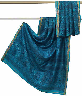 Vintage Indian Blue Used Saree 100% Pure Silk Floral Printed Ethnic Sari 5YD