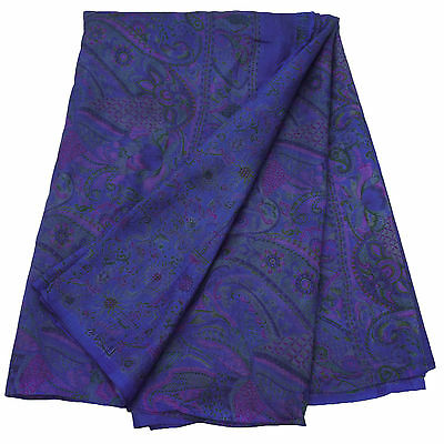Vintage Indian Used Saree 100% Pure Silk Floral Printed Ethnic Blue Sari 5YD