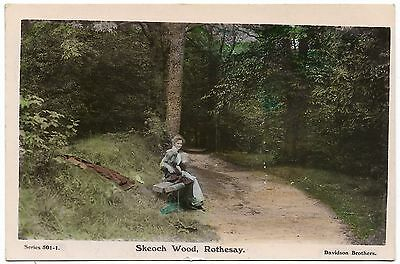 Skeoch Wood Rothesay early coloured real photo - postmark 1909 - Davidson