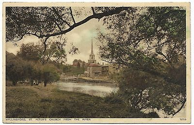Wallingford St Peters Church from the River colour postcard 1920's - Photochrom