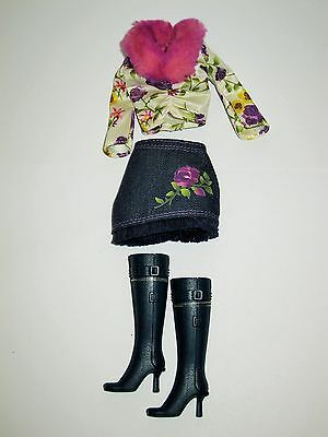 Really Rosy Kayla Barbie Doll Shirt Skirt Boots Clothing Outfit for OOAK # B5820