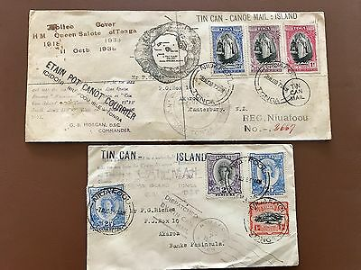 Tonga Tin Can Canoe Island Mail 1936 and 1939 Queen Salote
