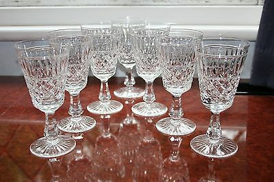 "SET OF 7 STUART CRYSTAL ""DUNKELD"" DESIGN WINE GLASSES 6"" TALL CIRCA 1960's vgc"