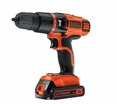 Black And Decker 18V Cordless Combi Hammer Drill 2- Gear Speed Li-on Full Kit