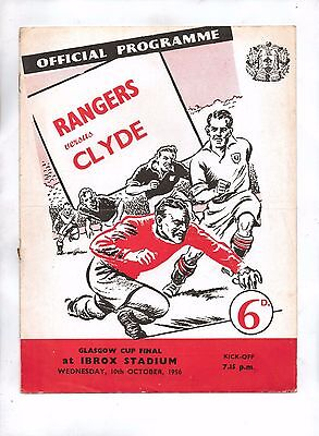 Rangers v Clyde (10.10.56) - Glasgow Cup Final @ Ibrox (6d) - VG+