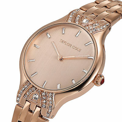 Taylor Cole Women's Ladies' Crystal Stainless Steel Quartz Analog Wrist Watch C