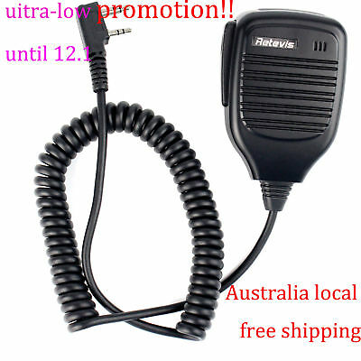 Retevis 2-PIN PTT Speaker Microphone MIC for KENWOOD BAOFENG HYT 2-Way Radios AU
