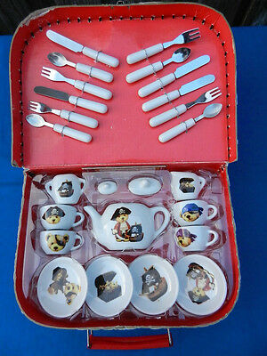 DOLLS Vintage Porcelain TEA SET in Picnic Case - Pirate Teddys