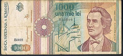 ROMANIA BANKNOTE 1000 P101Aa 1991 VF with dot after Block letter 1/2 types