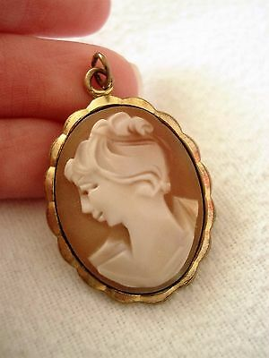 Vintage Edwardian Rolled Gold Carved Shell Cameo Pendant Old Antique Jewellery