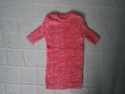 Vintage Stretch Skinny Rib Top - Age 4 - Red Fleck - Short sleeve -Danish - New