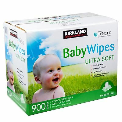 Kirkland Baby Wipes Unscented Wet with Aloe Vitamin E Ultra Soft Pack of 900