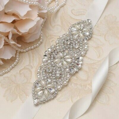 Bridal Wedding Party Dress Rhinestone Crystal Pearl Encrusted Sash Ivory Belt