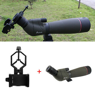 20-60x80mm Zoom Spotting Scope Waterproof Telescope with Phone Mount Adapter AU