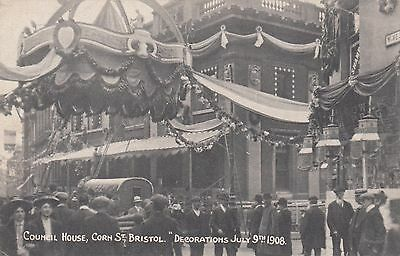 Council House, Corn Street, Bristol, Decorarations,1908, old postcard, unposted