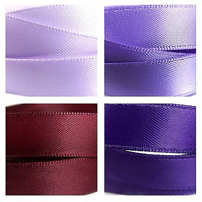 Quality Satin Ribbon By The Metre 1-3m, Purple Colours, Lilac, Violet, Maroon