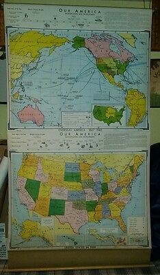 VINTAGE Pull Down School Map Our America - Background and Development
