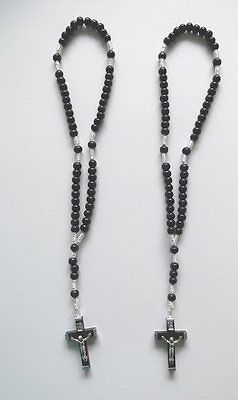 2 X Black Wood Corded Rosary Beads Small Black Mission Prison Rosmary Beads New!
