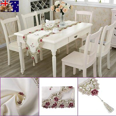 Embroidery Flower Tablecloth Doily Wedding Party Table Runner Cloth Cover AU