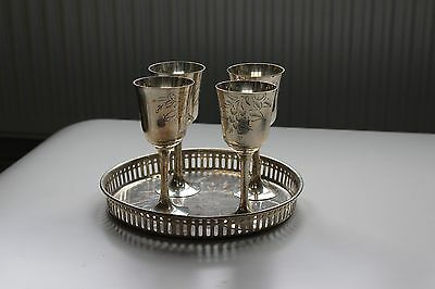 Beautiful Silver Metal Goblets and Tray (set of four)