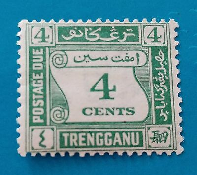 Trengganu:1937:Postage Due-4c Green.Stamp.Mint.Cat £9+