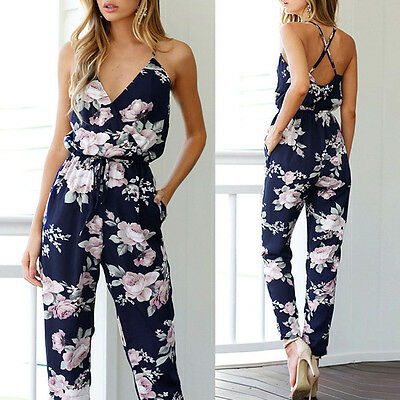 Womens Sleeveless SEXY-V Summer Jumpsuit Playsuit Pants Party Trousers Rompers