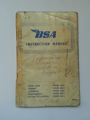 BSA motor cycle Instruction Manual 00-4134